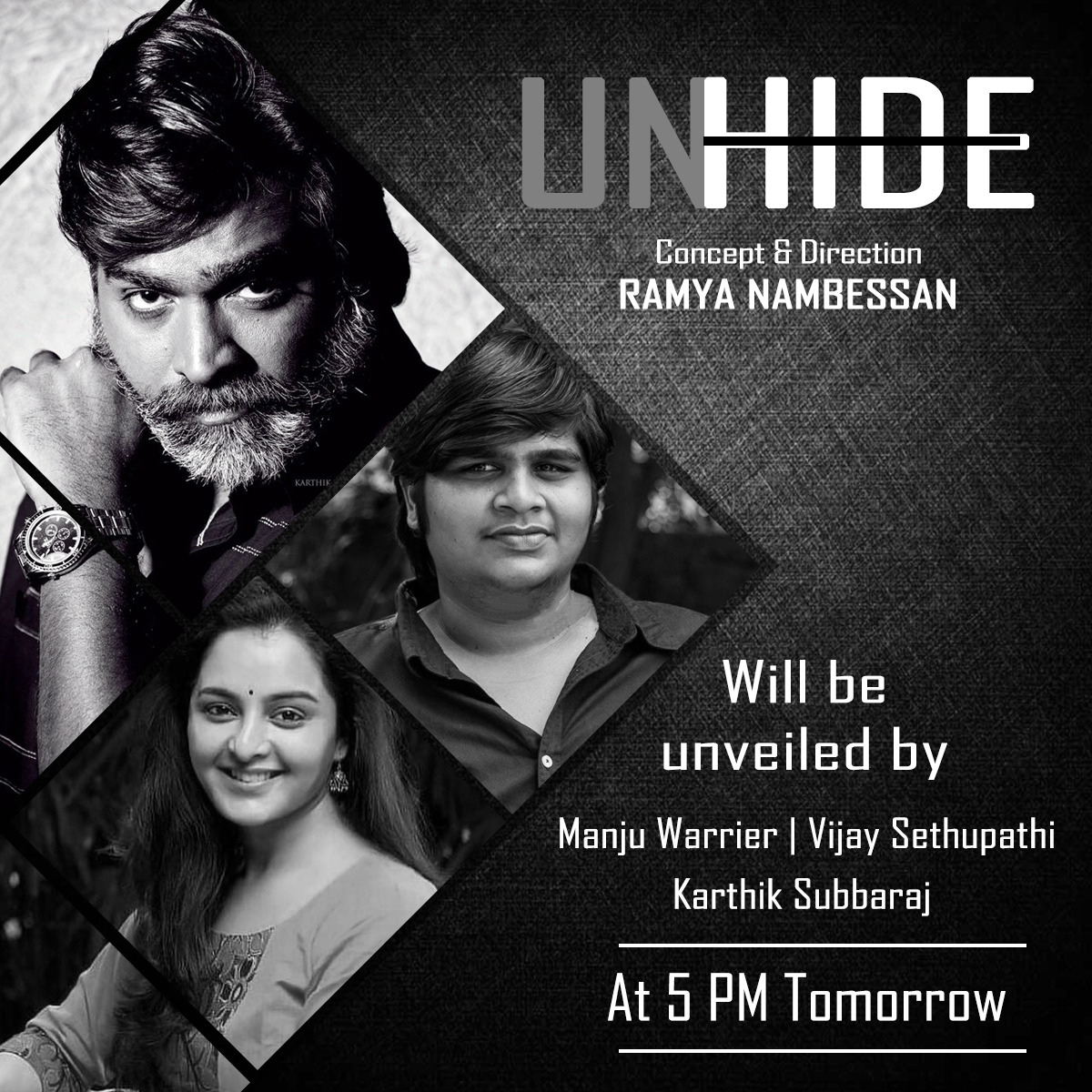 Three cheers to the awesome three for unveiling the powerful #UNHIDE tom 5pm IST. @nambessan_ramya get ready for all the appreciations and all the questions. More power to you. #Ramyanambessanencore #RamyaNambessanDirection1 @sshritha9 @divomovies @DoneChannel1 @gobeatroute