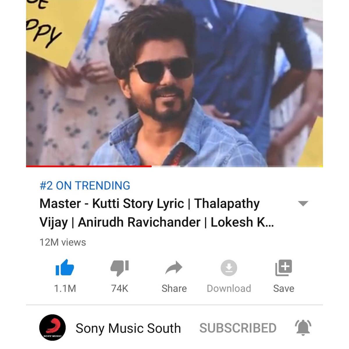 Nambe #Thalapathy 's #KuttyStory is the number 2️⃣ trending video on YouTube with 12 million views! THAT'S CRAZY! 😵😍🔥 That way my kutty story, how my kutty story? @actorvijay @VijaySethuOffl @anirudhofficial @Dir_Lokesh @SonyMusicSouth @sonymusicindia