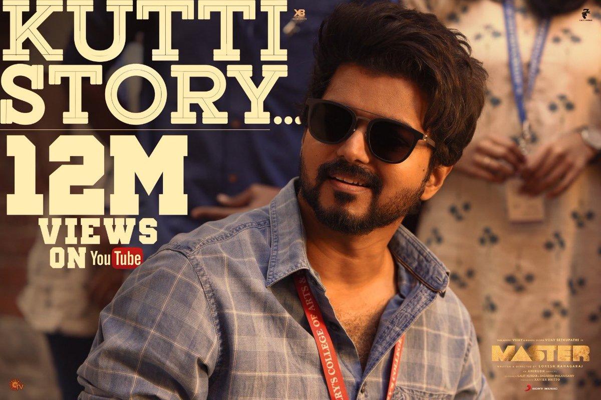 It's  1️⃣2️⃣ Million+ Views for Thalapathy Vijay's #KuttiStory #Master.  @actorvijay @anirudhofficial @Dir_Lokesh @Jagadishbliss @XBFilmCreators @Arunrajakamaraj @MrRathna