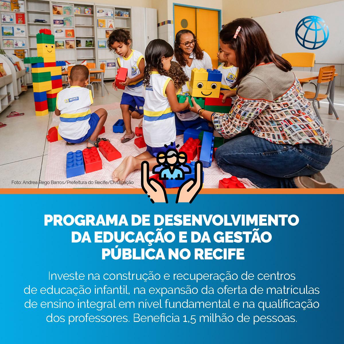 Os investimentos do Banco Mundial no #Recife têm os objetivos de aumentar o acesso e a qualidade da educação infantil e tornar a gestão pública municipal mais eficiente. Conheça melhor os nossos projetos: