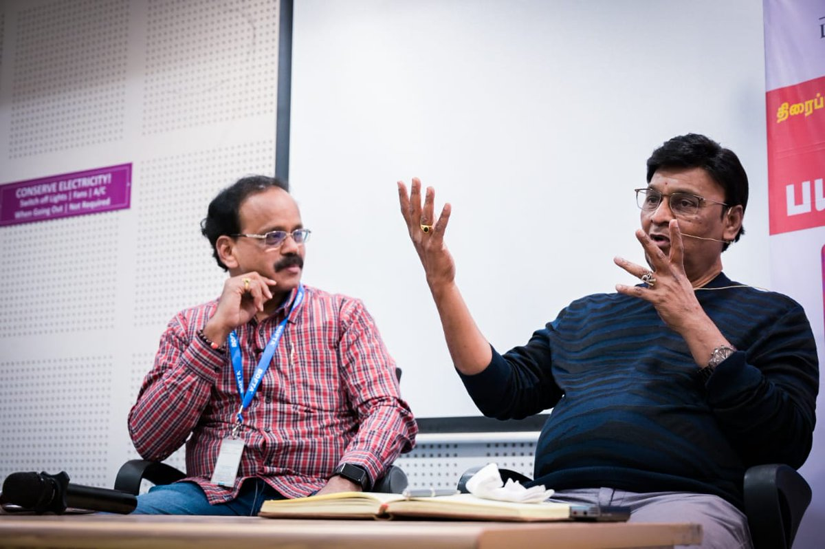 A fabulous session by Legend #KBhagyaraj sir at @BOFTAindia Script Writing Workshop for more than 4 hours analysing the story writing of each of his films. Great learning to the participants. Had a memorable time with the Master 👌👌👌👍👍