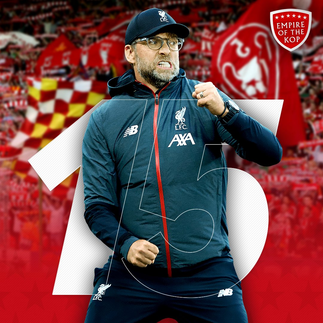 #LFC are just FIFTEEN (15) points away from being crowned PREMIER LEAGUE CHAMPIONS! 🏆 https://t.co/GnLqBKde0I