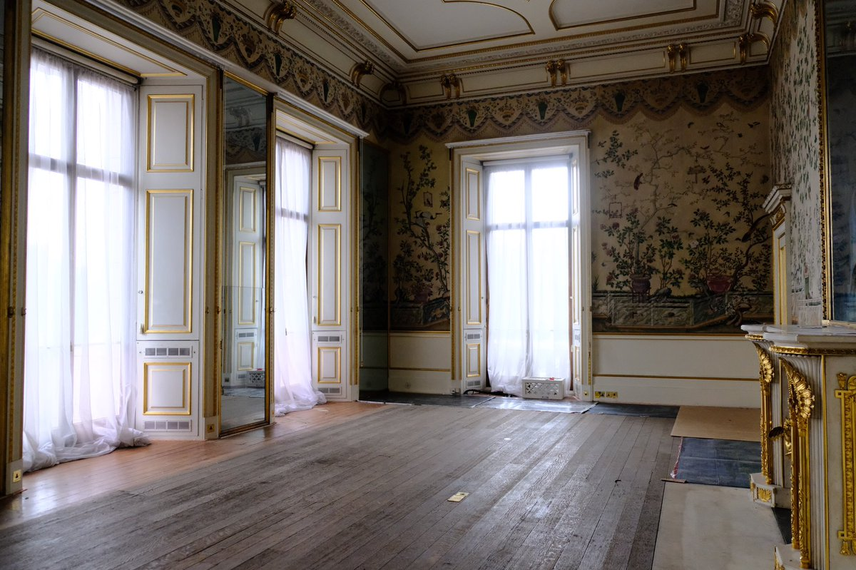 Watch as historic nineteenth-century wallpaper from the Yellow Drawing Room is carefully taken away for conservation. This vital work will protect the wallpaper from incurring damage from nearby construction work as part of the Reservicing programme.