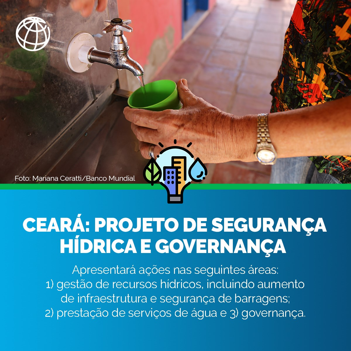 Além de levar um serviço mais confiável e reduzir as perdas na distribuição de água, o projeto espera aumentar a capacidade do Ceará para previsão climática e monitoramento dos reservatórios. Tudo isso ajuda no planejamento de medidas contra as secas ➡️
