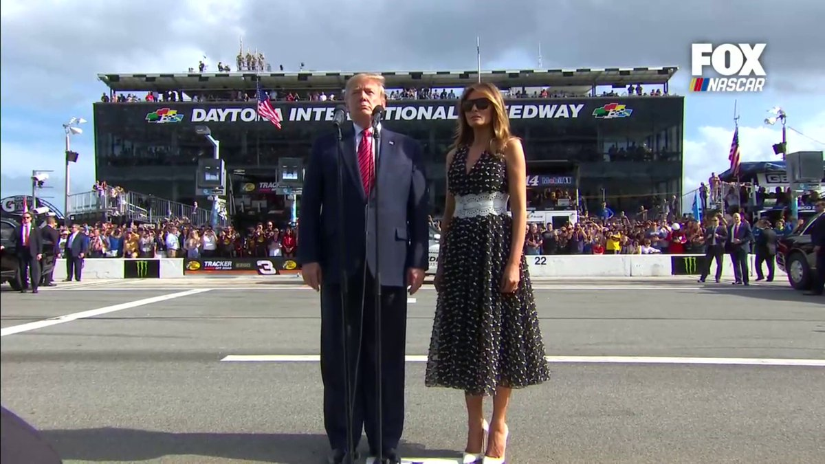 """GENTLEMAN, START YOUR ENGINES,"" @realDonaldTrump marking the start of the #Daytona500"