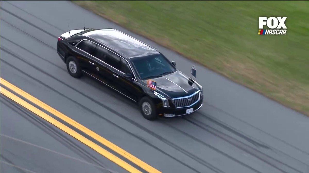 President @realDonaldTrump takes a few laps around Daytona International Speedway.