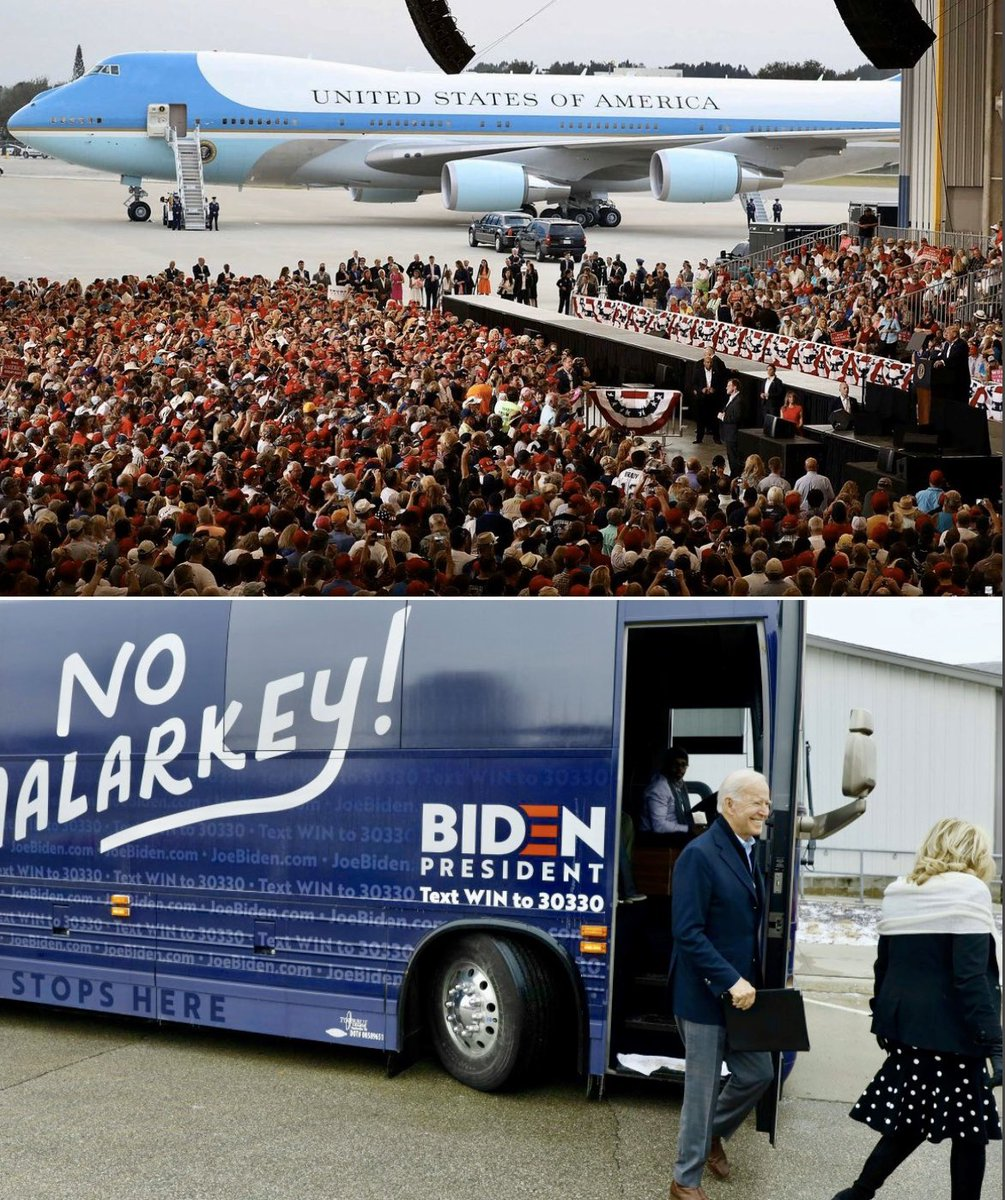 Here's President Trump leaving a rally and Joe Biden leaving a rally.  See if you can spot the difference?