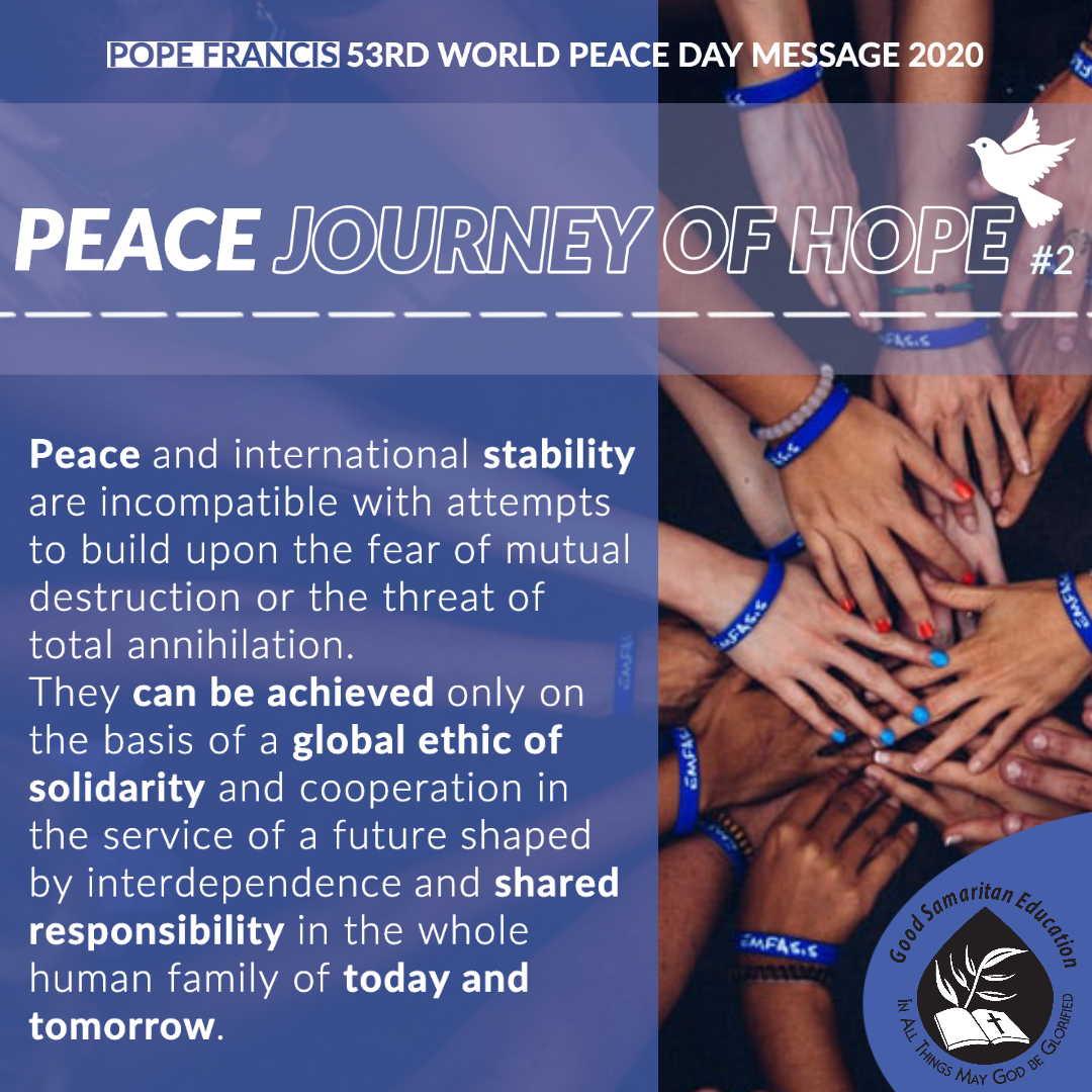 Peace is an act of solidarity.  Take a moment to reflect on what solidarity means to you.  Does it call forth in you a need for growth and longing for peace? #GSEYearofPax #PopeFrancis #Stability #Justice