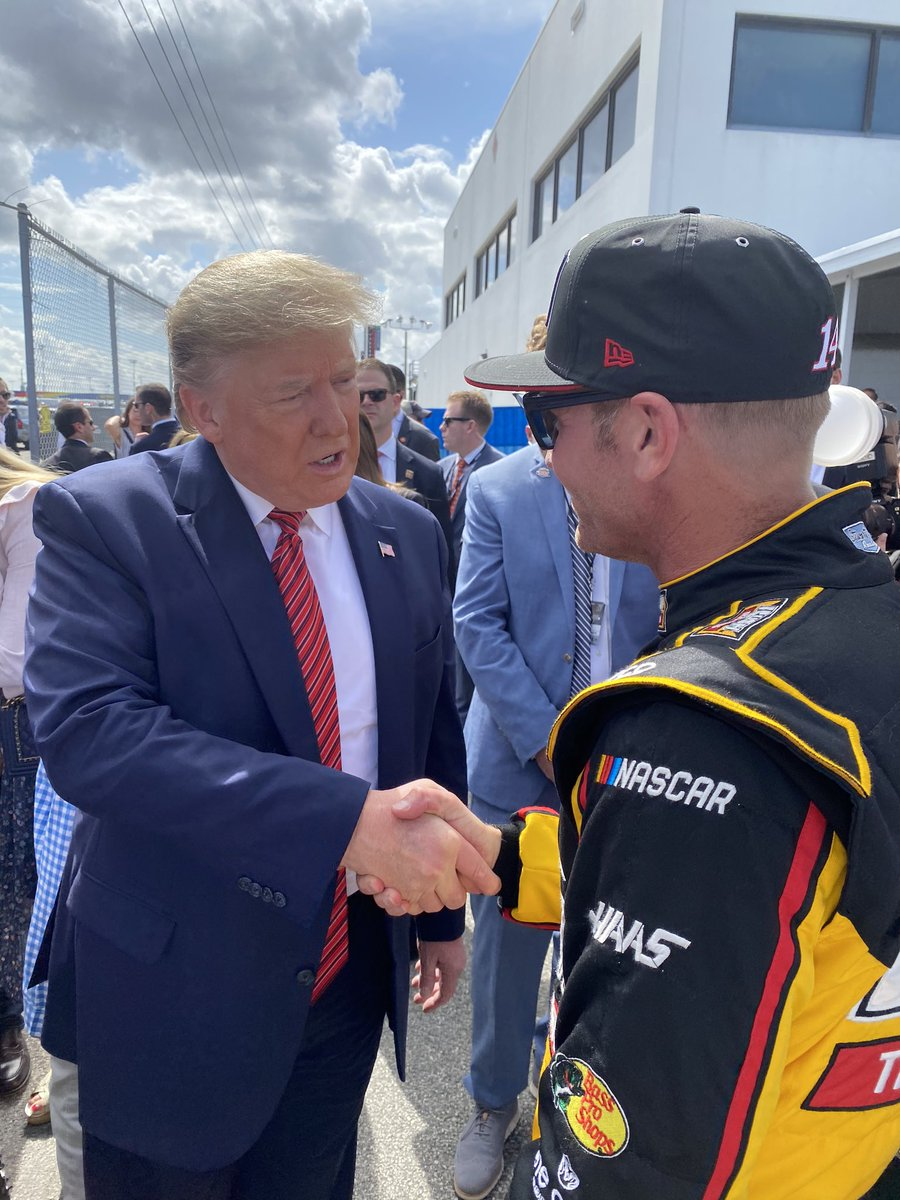 Not going to lie, I had no idea what to expect.  The man walked in shook all our hands, took selfies, and whatever we asked of him.  I judge people on how they treat me and others I'm with, and that's why I really appreciated meeting @POTUS.  thanks for coming to #DAYTONA500