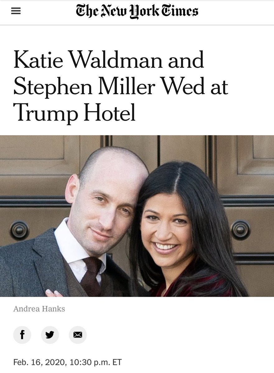 Given everything we know about Stephen Miller, seems a massive abdication of journalistic duty to publish a normalizing announcement of his wedding in @nytimesvows, and to publish said announcement with no mention that he's a white nationalist