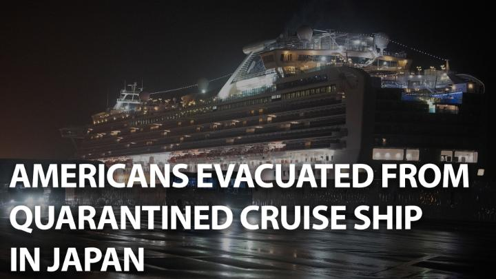 Watch: American passengers have been evacuated from Diamond Princess cruise ship, where at least 44 Americans have tested positive for the coronavirus. The ship has been stuck in Yokohama since Feb. 3