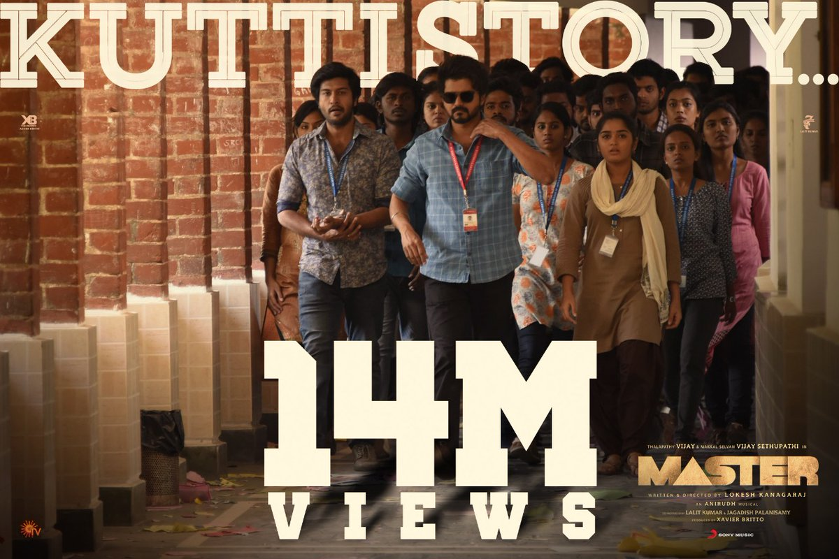 Nanba, we are now at 1️⃣4️⃣ MILLION real-time views and TRENDING worldwide! 😎💥  #Thalapathy's #KuttiStory is totally unstoppable 🔥➡️   @actorvijay @anirudhofficial @Jagadishbliss @Lalit_SevenScr @Arunrajakamaraj @Dir_Lokesh   #MasterSingle #NoTensionBaby