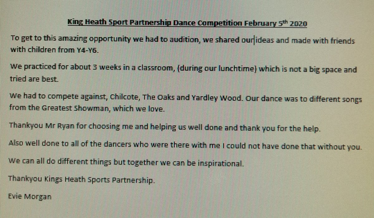 test Twitter Media - Lovely words from Evie after our @KingsHeathSP dance competition. https://t.co/5O6SgTpYd8