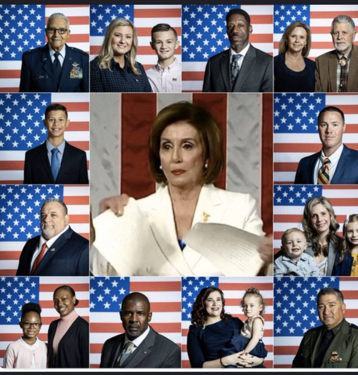 "Democrat House Leader Nancy Pelosi says that ripping up @realDonaldTrump 's speech on stage is ""classy."" Nancy, please look to the survivors and American men and women that Trump honored to get an idea of what class looks like. #PelosiTantrum #SOTU2020"