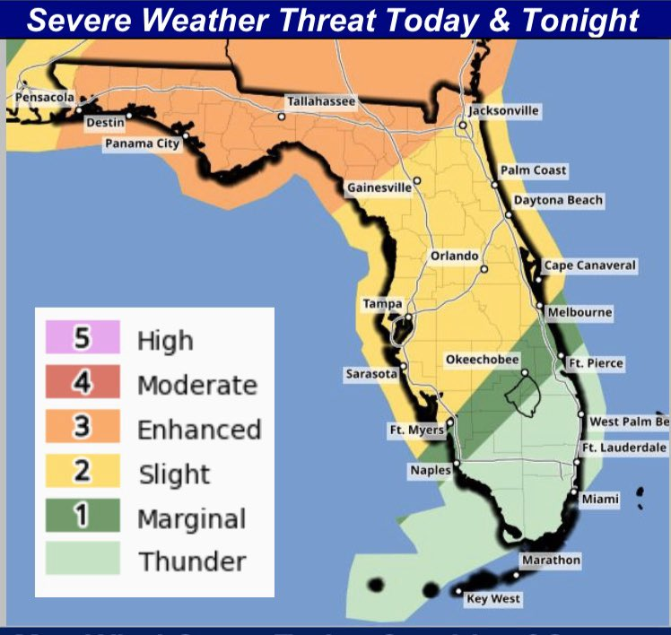 Severe weather is expected in North and Central Florida today. The storms could bring minor flooding, power outages and tree damage. Be ready to seek shelter if a tornado warning is issued and have a plan in place for severe weather.
