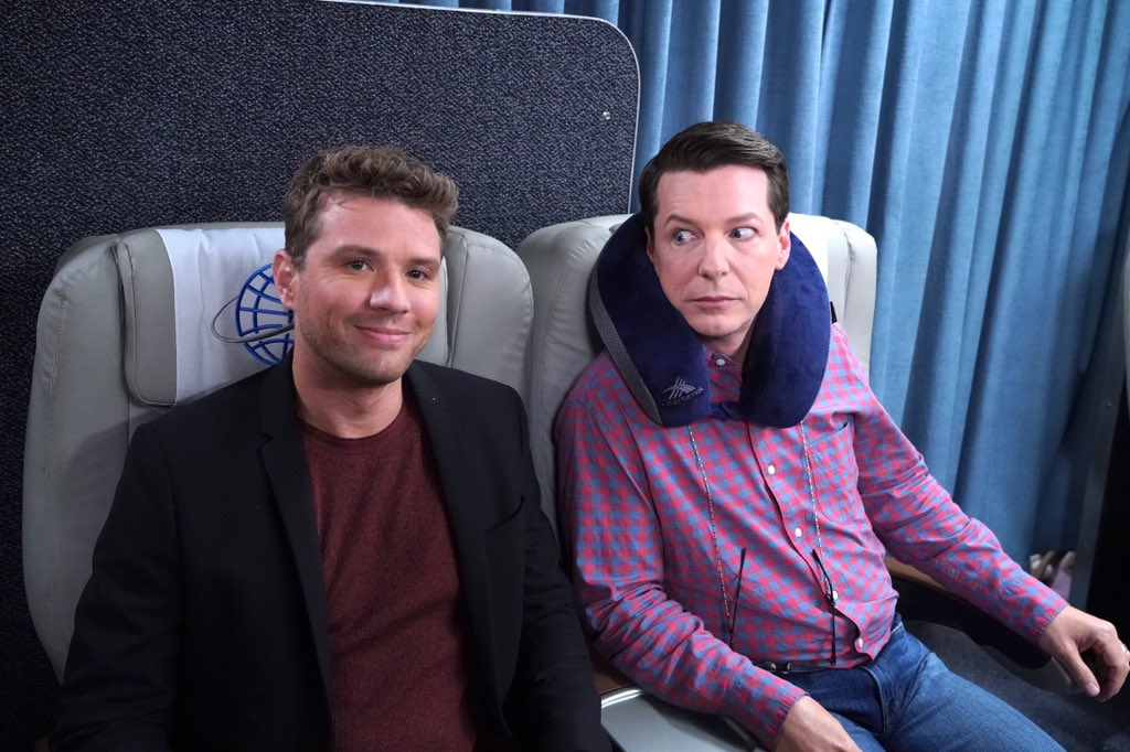 """Nothing wrong with having Ryan Phillippe as your seat mate on a plane. Don't miss """"Will & Grace"""" TONIGHT at 9/8c on NBC. #WillandGrace"""