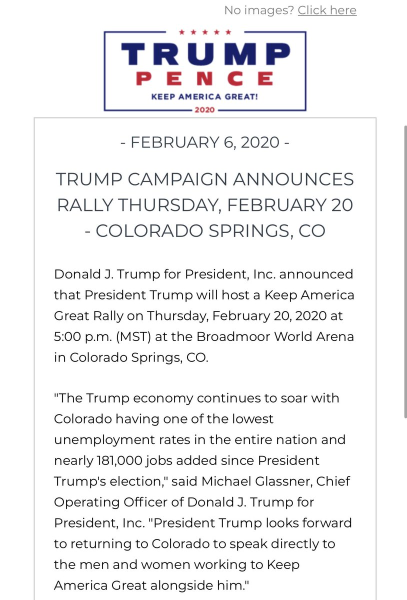 .@TeamTrump is coming to Colorado for an @realDonaldTrump rally!   Join us on Feb. 20th! ⬇️