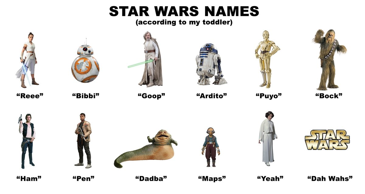 My 20-month-old daughter is really into Star Wars children's books and toys right now (which is awesome!) but the way she's been saying the names of everything is my favorite part: