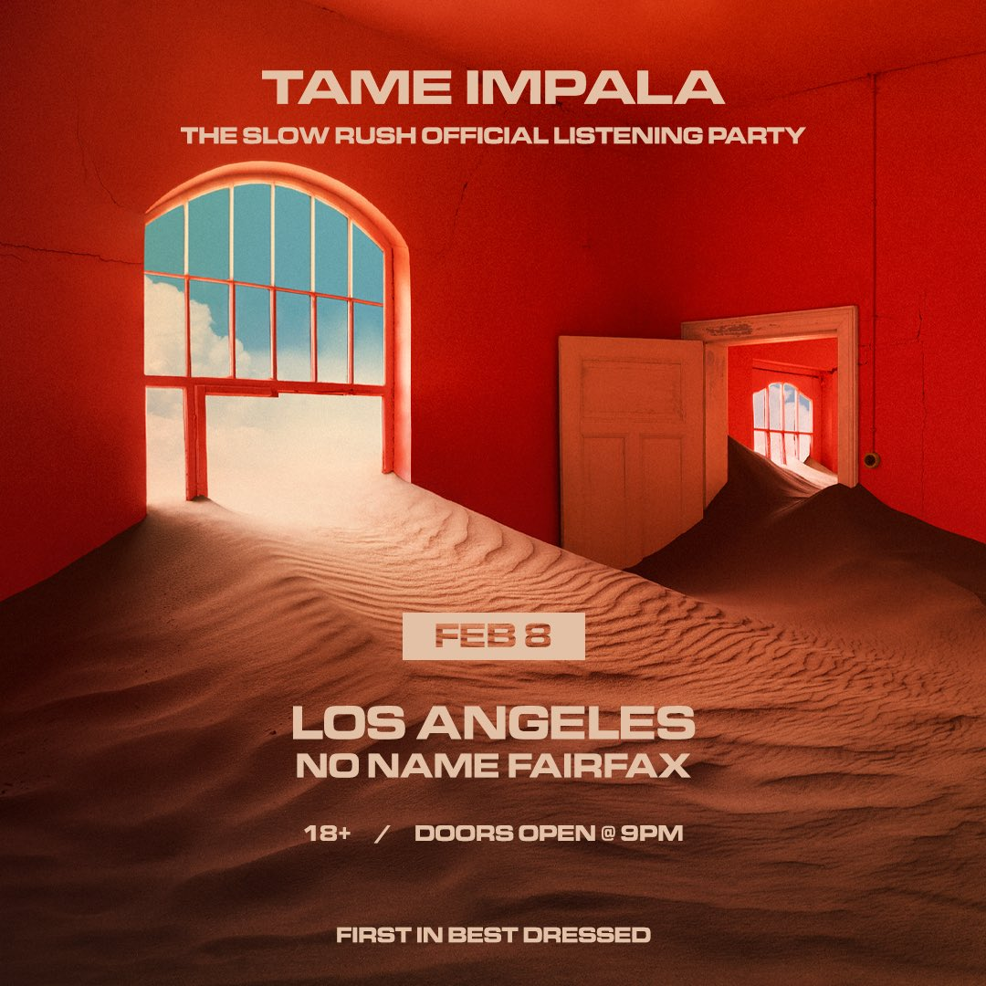 LA • The Slow Rush Listening Party / Feb 8 / No Name on Fairfax