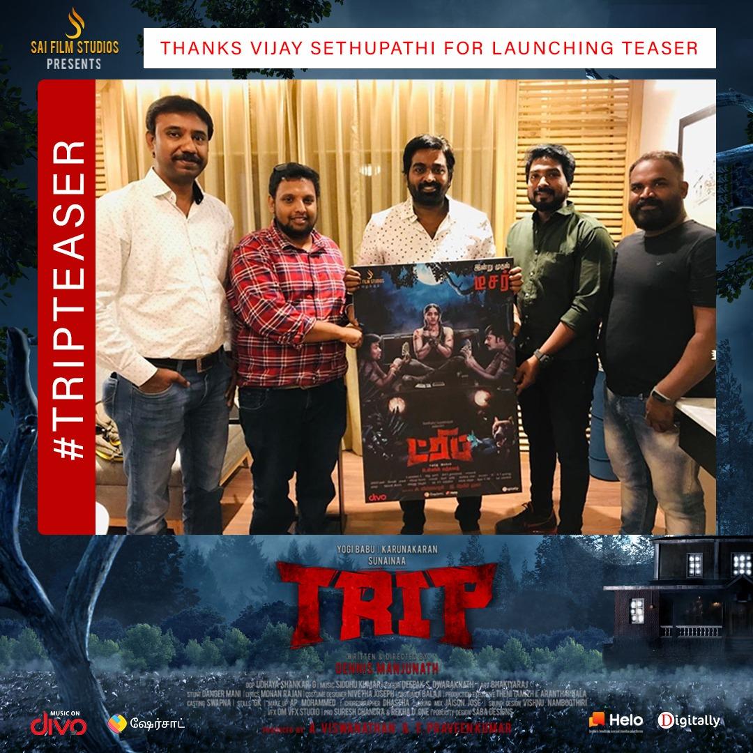 Thank you @VijaySethuOffl for launching our #TRIPTeaser it means lot 🤗🙏♥️💥  🚙  #Trip #TripTeaserThrillingNow  @studios_sai @iYogiBabu @TheSunainaa #Karunakaran  @PraveenSurviver @dennisfilmzone @Vishwa_SFS @DoneChannel1 @divomovies @digitallynow