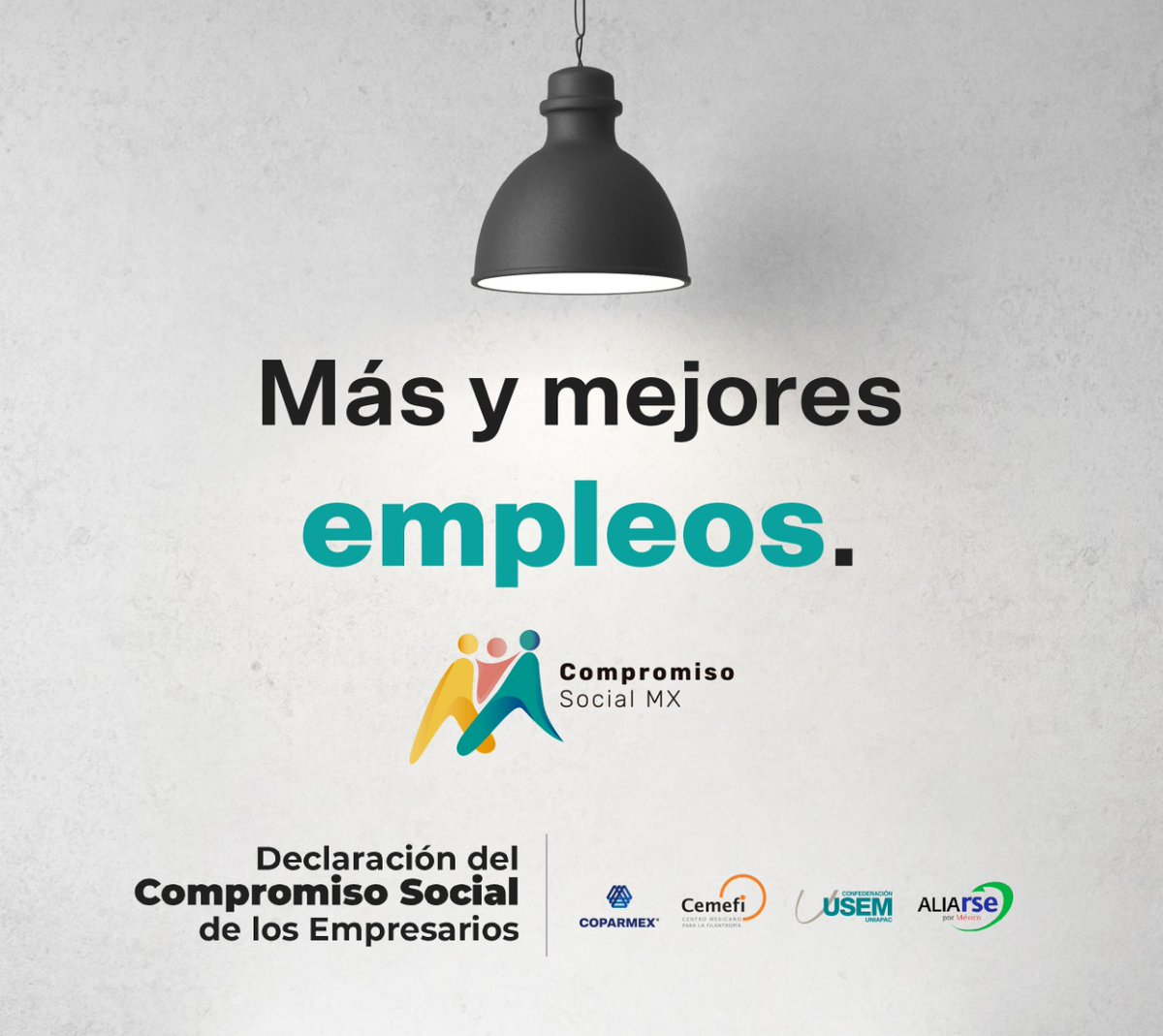 Los empresarios asumimos el #CompromisoSocial de crear empleos productivos e impulsar una Nueva Cultura Salarial basada en capacitación, flexibilidad laboral, salarios de mayor calidad y bonos de productividad. @usem @CemefInforma #AliaRSE  @ComprSocialMx
