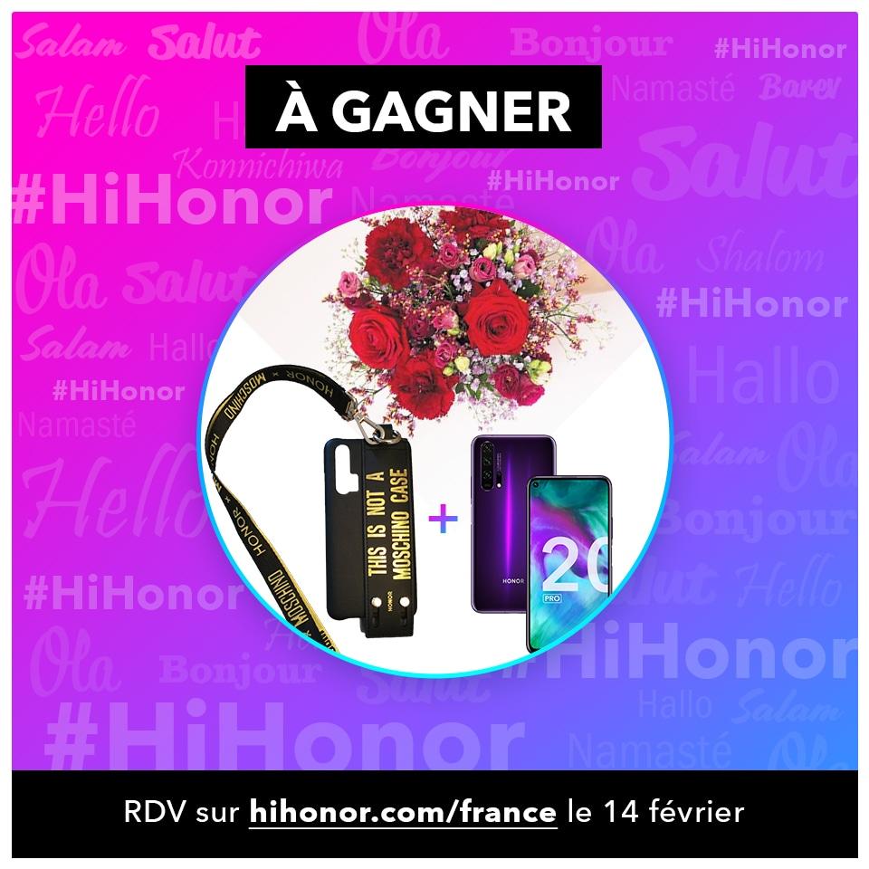 On continue cette semaine #Hihonor 🎁  A gagner : un HONOR 20 Pro 📱 une coque exclusive MOSCHINO & un bouquet de fleurs 💐  Pour participer :  🔁 RT ce tweet  ➡ follow  @Interflora & @Honor_FR  ⚠ Participez aux autres concours ⬇   TAS le 14/02/2020 🤞