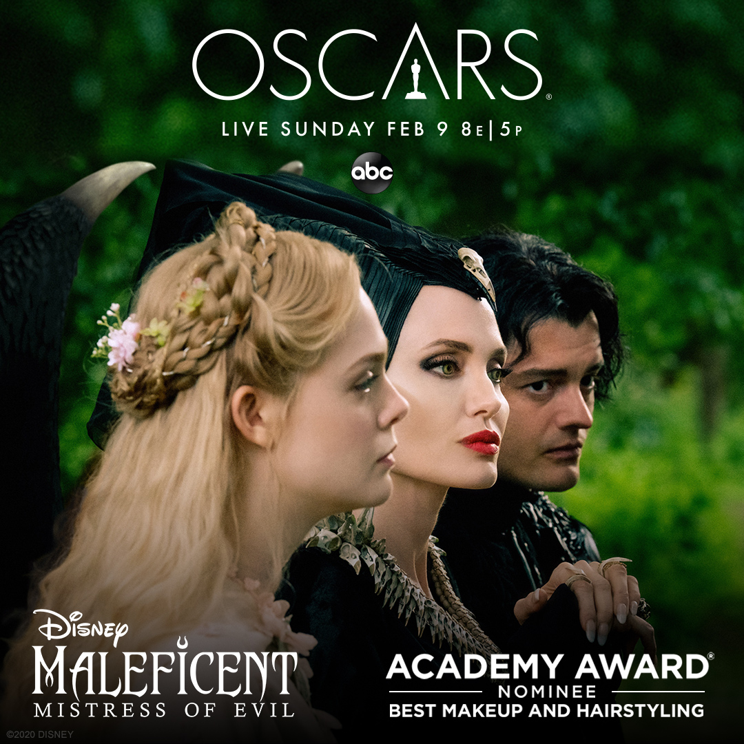 Maleficent: #MistressOfEvil is nominated for Best Makeup & Hairstyling at the #Oscars! Tune-in to the 92nd Academy Awards tonight at 8 PM eastern time on ABC.