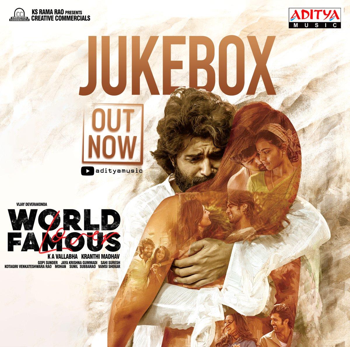 Here We Go, #WorldFamousLover Audio Jukebox Out Now  #WorldFamousLoverJukebox 🎧►    A @GopiSundarOffl Musical 🎼  @TheDeverakonda @RaashiKhanna @CatherineTresa1 @izabelleleite25 @aishu_dil @ksramarao45 #Kranthimadhav  @sahisuresh #KAVallabha @CCMediaEnt