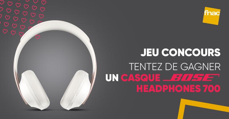 JEU CONCOURS 🎁| Votre atout coeur est à la fnac  💕. Tentez de gagner le casque à réduction de bruit @BoseFR Headphones 700 Bluetooth sans fil au design revisité 🔥. Pour participer ➡ RT + Follow @Fnac et on 🤞 !  >>  😍