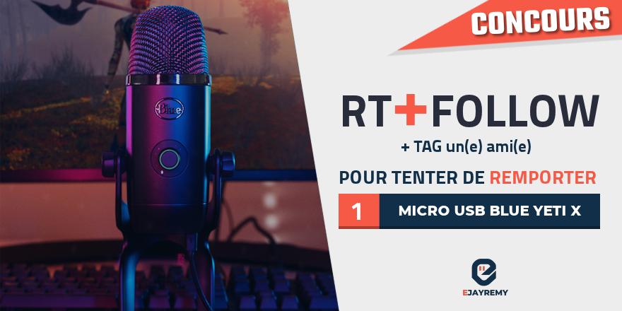 🎁 #Concours   Tentez de remporter un micro USB Blue Yeti X :  Découvre ma vidéo ici :   🔹Pour tenter votre chance :  RT + FOLLOW @ejayremy + TAG une personne  TAS le 14/02 @BlueMicrophones