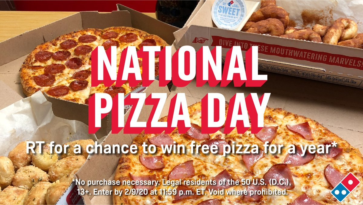 🍕🍕🍕 IT'S #NATIONALPIZZADAY! 🍕🍕🍕  To celebrate, we're giving away FREE PIZZA FOR A YEAR!   👉 RT for a chance to #WinDominosPizza 👈  Rules: