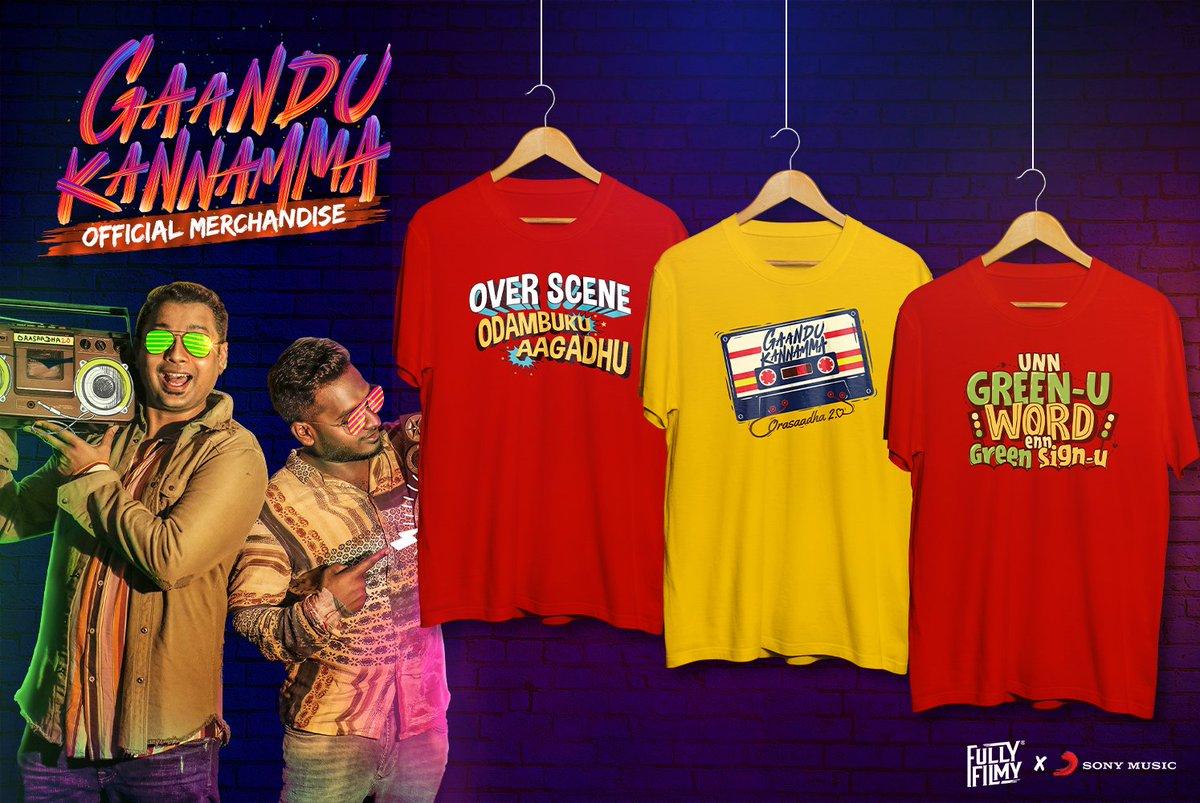 Grab the exciting #GaanduKannamma T-shirts from @FullyFilmy_in now! 😍💃  👕 ➡️   @iamviveksiva @MervinJSolomon  Gaandu Kannamma ➡️    @KuKarthk @amithkrishnan85 @PawanAlex @balaji_u @JafferJiky   #FiltrFresh