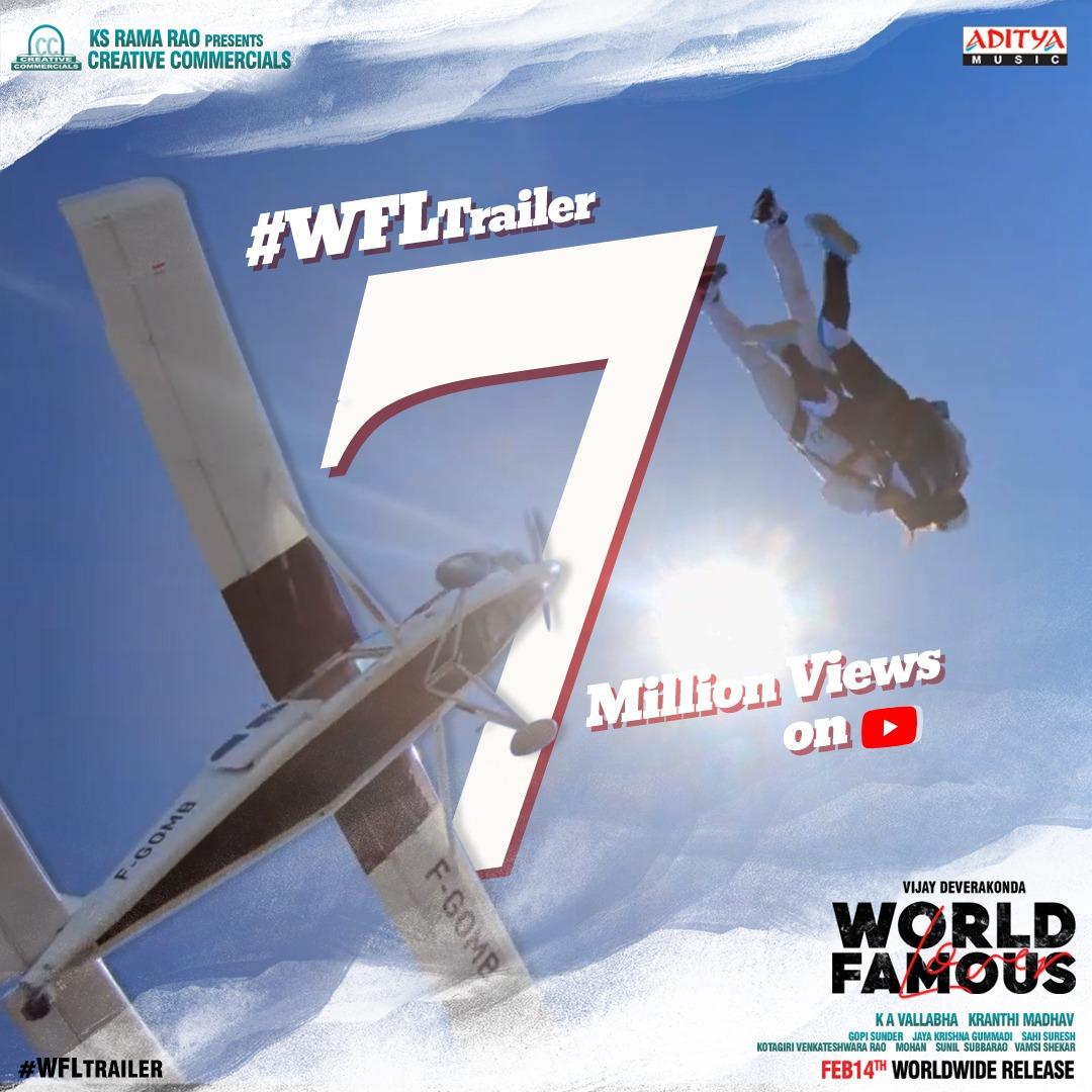 7 Million views with 250k+ Likes ❤️ #WFLTrailer continues to win hearts 💕  -   #WFLonFeb14   @TheDeverakonda @RaashiKhanna @CatherineTresa1 @izabelleleite25 @aishu_dil @ksramarao45 @sahisuresh @adityamusic @GopiSundarOffl @shreyasgroup @CCMediaEnt