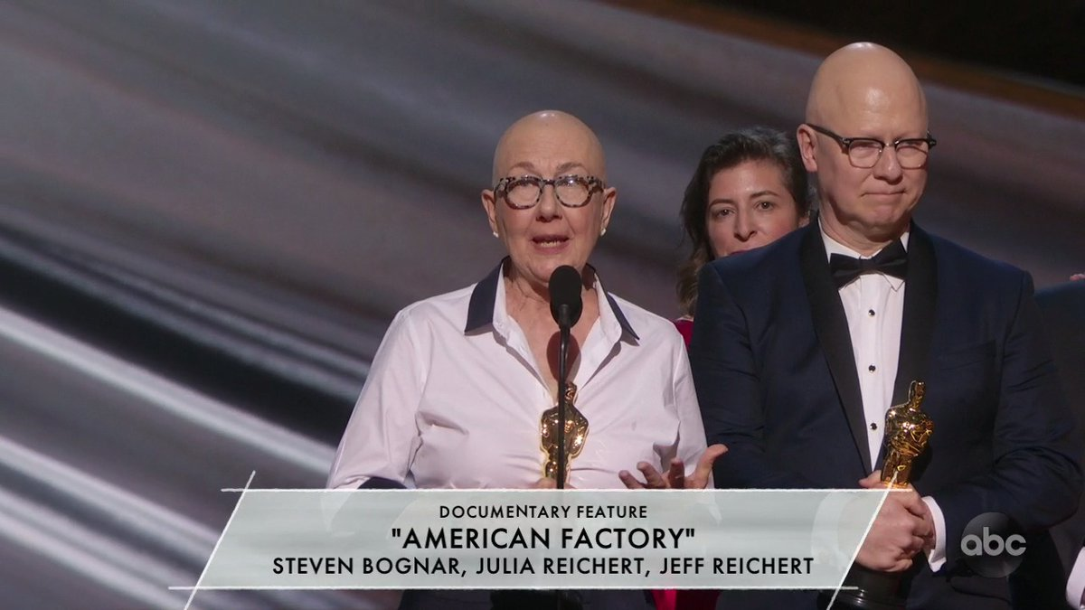 "Julia Reichert of ""American Factory"": ""Working people have it harder and harder these days—and we believe that things will get better when workers of the world unite.""  #Oscars"