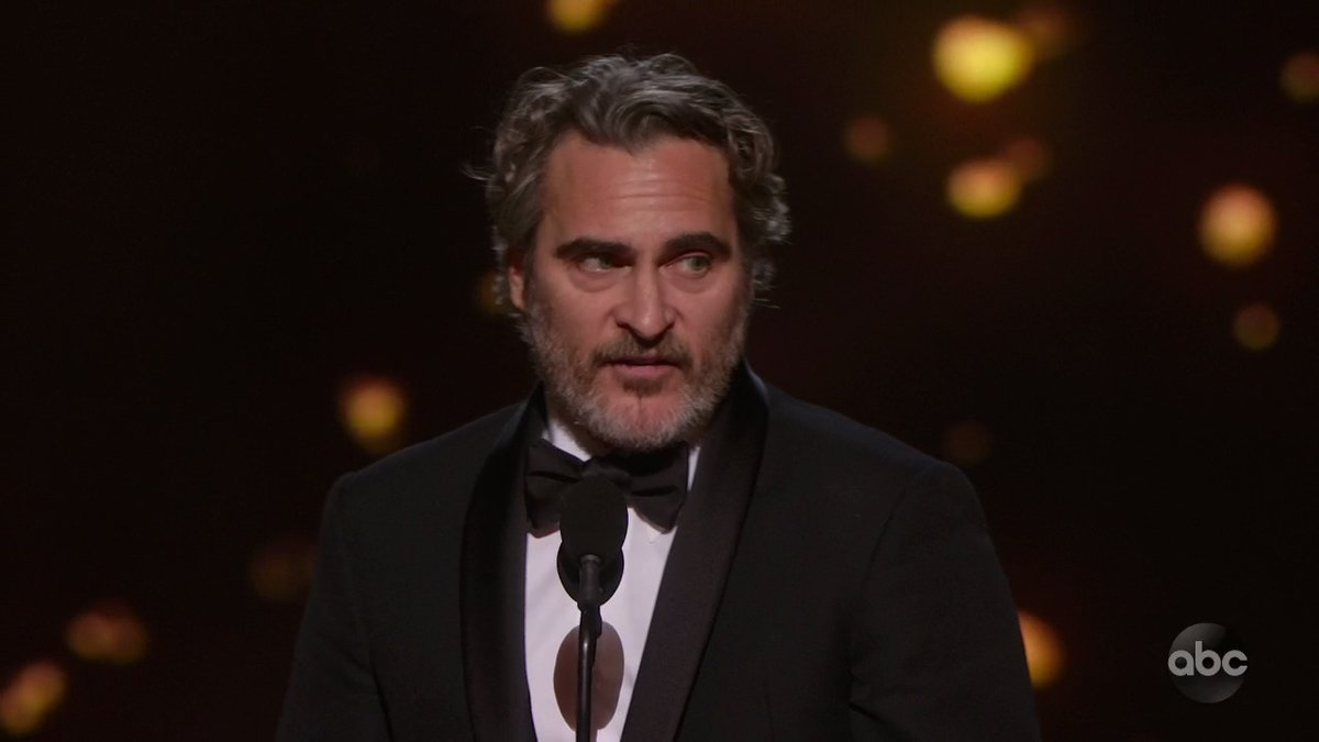 "Joaquin Phoenix: ""That's when we're at our best—when we support each other. Not when we cancel each other out for past mistakes, but when we help each other to grow, when we educate each other, when we guide each other toward redemption.""  #Oscars"
