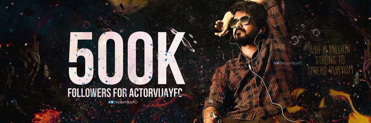 We have reached our BIGGEST Milestone of HALF A MILLION Followers now with our #Master rage! 🔥💥 Let's grow more together and Spread VIJAYISM everywhere! 😎   Thank you all! 🤎 #500KFansAtActorVijayFC
