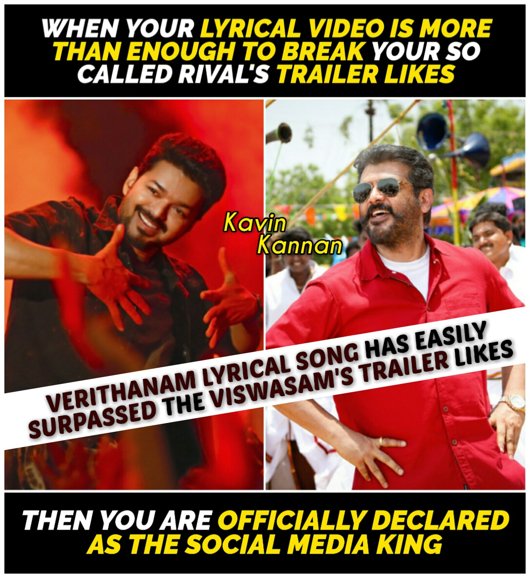 #Verithanam lyrical video song has crossed the lifetime likes of #Viswasam trailer 😎👊🔥  S O C I A L  M E D I A  K I N G 👑   #Master @actorvijay ❤