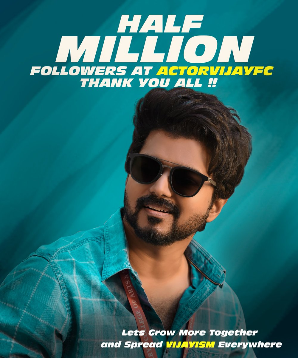 Finally We touched the BIGGEST Milestone of HALF A MILLION Thalapathians. BIG Thanks to each and everyone who made that Possible! 🤎💥 @ActorVijayFC   #Master #500KFansAtActorVijayFC #SpreadVijayism