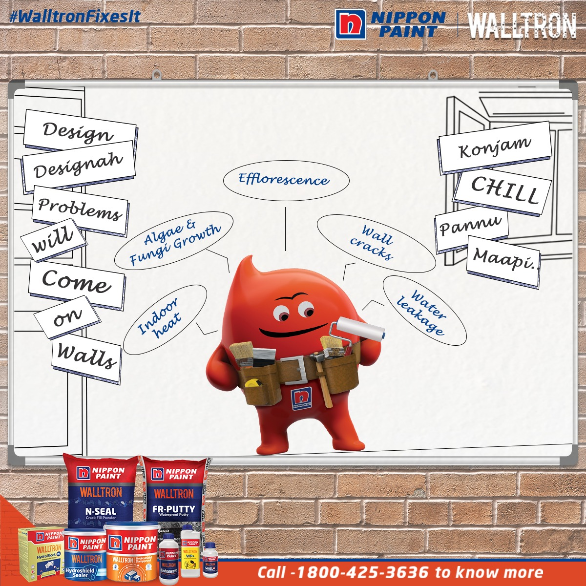 Konjam chill pannu maapi, Nippon Paint Walltron is here. For all your wall related problems call the pro and chill!  To know more visit:  or call 1800-425-3636.  #NipponPaint #WalltronFixesIt #OneSolutionForProblems #Kuttistory #Topical