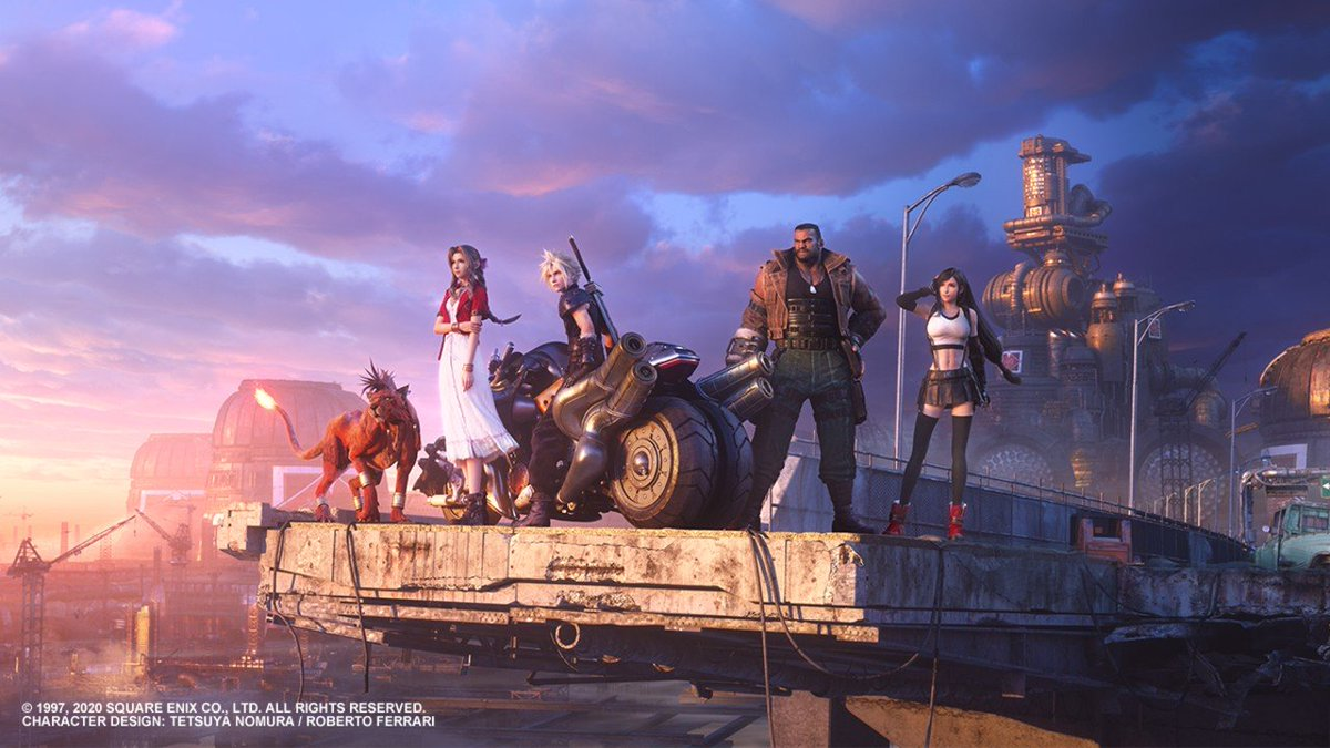 The beautiful #FF7R key art released on Aerith's birthday (February 7th, 2020), Cloud and Aerith together under the pink and blue skies