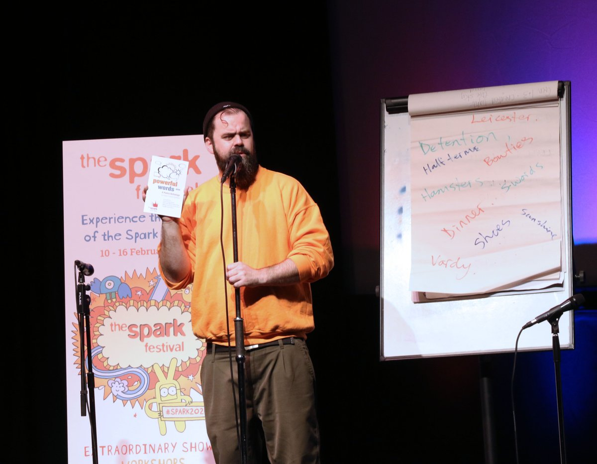 Last week we began The #Spark2020 Festival with a Poetry Slam at @TheYTheatre!  Four Leicester schools performed their own poems written during 10 weeks of workshops with award winning Festival poet and storyteller Owen Craven-Griffiths aka John Berkavitch