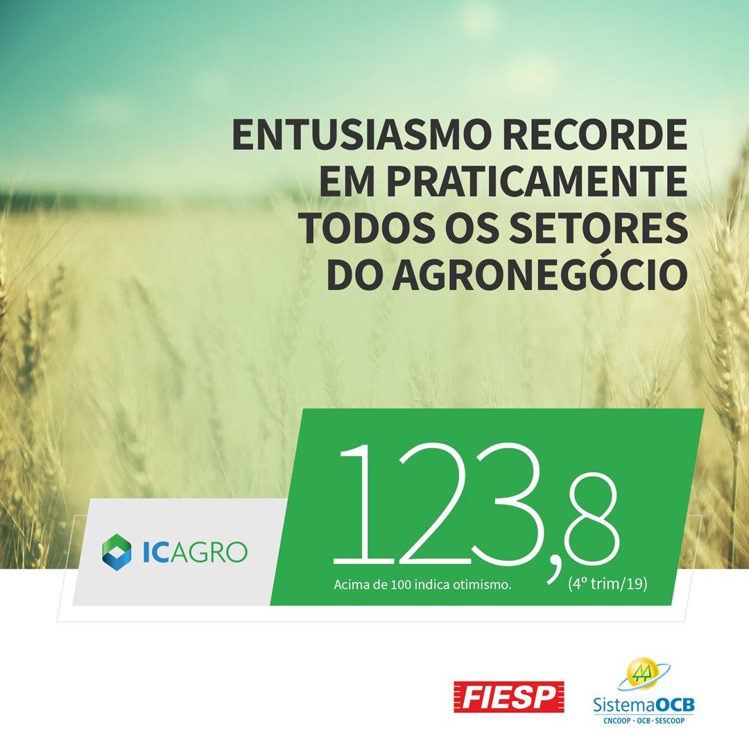 O Índice de Confiança do Agronegócio brasileiro (IC-Agro) fechou o 4º trimestre com melhor resultado da série histórica de 2019. O otimismo atinge todos os elos da cadeia produtiva. O IC Agro é um indicador medido pela Fiesp e Organização das Cooperativas Brasileiras (OCB).