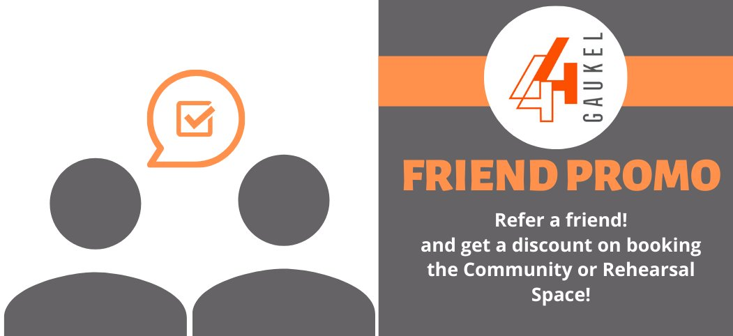 Have you rented the Community or Rehearsal space at 44 Gaukel before? Refer a friend and pay $6/hour instead of $8/hour on your next rental! Read the full terms and conditions here:   #44gaukel #promotion #sale #dtkitchener