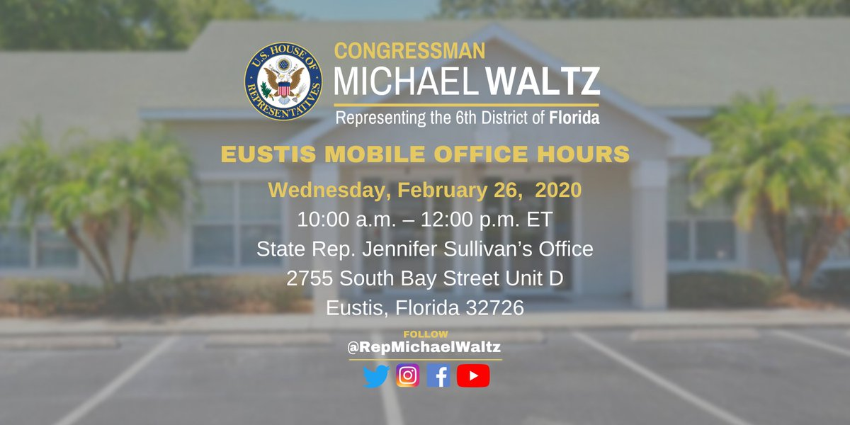 One of my office caseworkers will be hosting #Eustis Mobile Office Hours WEDNESDAY offering assistance to anyone struggling to navigate the federal bureaucracy.  If you need help with the VA, a passport, Social Security, the IRS or any other federal agency, stop by!