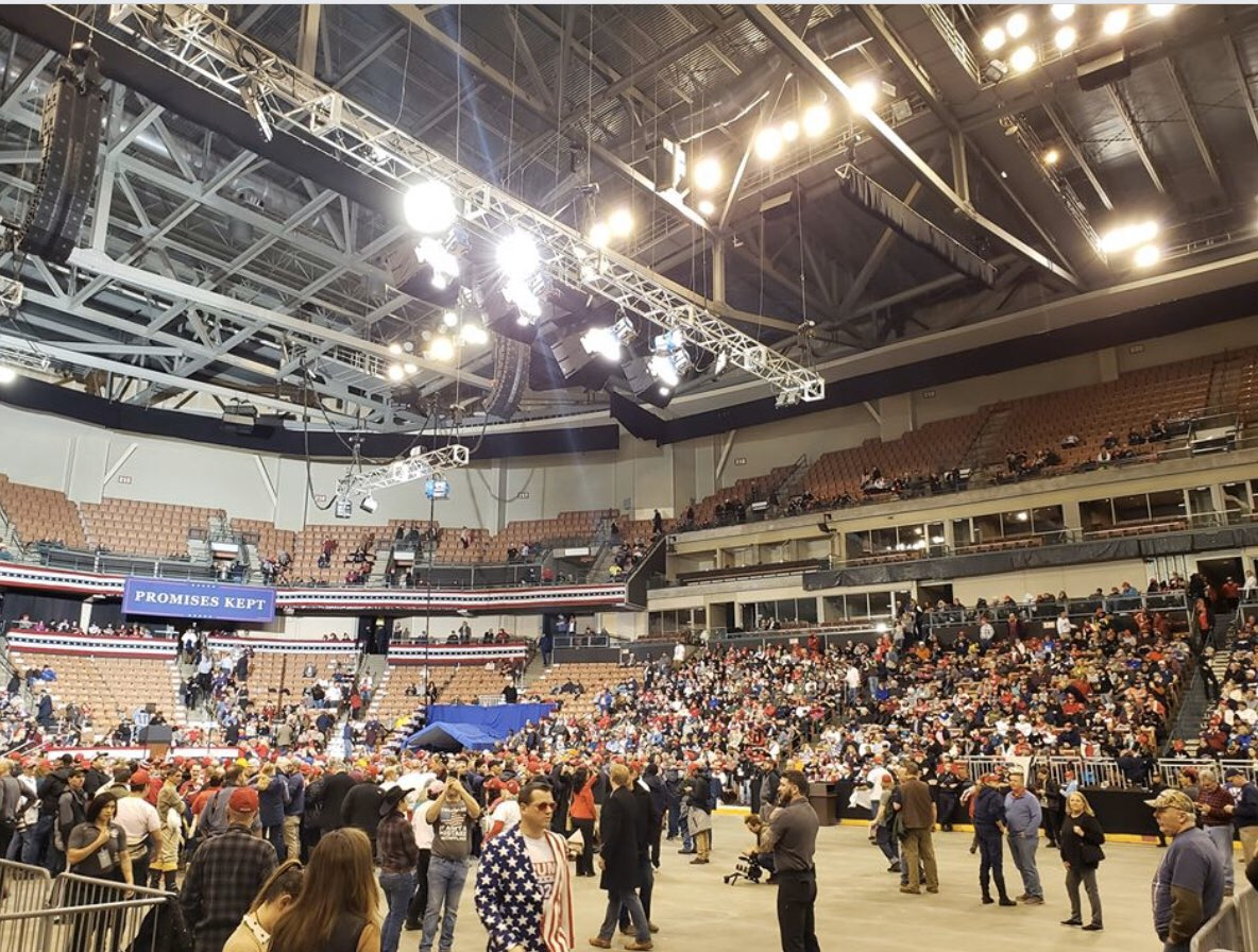 @realDonaldTrump doesn't speak here in New Hampshire for another 3 hrs, but the arena is already filling up--with long, long lines still filing in from outside in the snow. The energy here is electric!  #KeepNHGreat