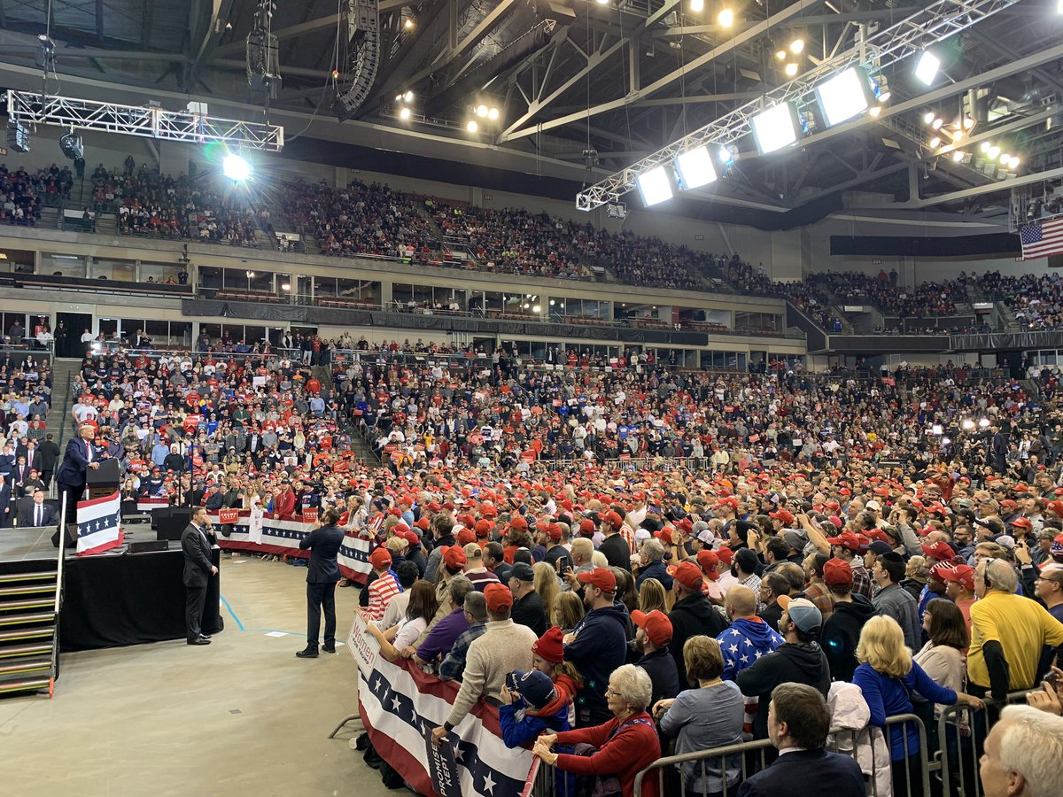 Packed to the rafters in Manchester, NH for the @realDonaldTrump rally.   Many thousands inside and many thousands outside watching on the giant screen.  Dems have been making a big deal out of attracting a few hundred people to events. They can't even imagine a scene like this.