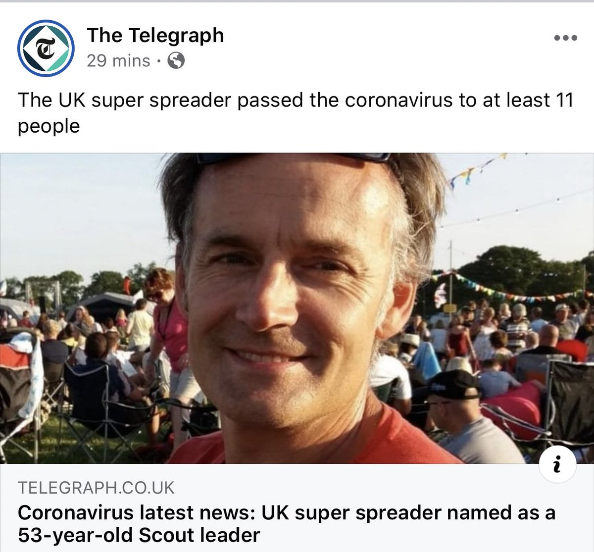 This headline on The Telegraph is so misleading. They almost make it sound like he's spreading coronavirus on purpose.