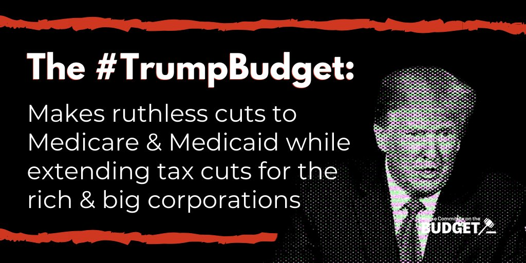 The destructive #TrumpBudget goes after working families & breaks the President's promises to the American people. @HouseDemocrats will stand firm against the President's cuts to Medicare, Medicaid & Social Security, and his warped 'vision' for our nation's future.