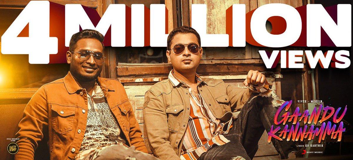 #GaanduKannamma  4 million and Raging !!   Thank you 😊   @MervinJSolomon @SonyMusicSouth @amithkrishnan85 @PawanAlex @JafferJiky