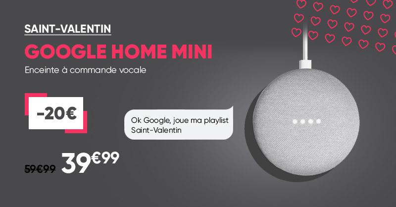 🎙 Pour la Saint-Valentin💕, offrez-vous ou à votre être cher l'enceinte à commande vocale Google Home Mini à 39.99€ seulement, au lieu de 59.90€ 💕 > Offre valable jusqu'au 23 février et en magasins #SaintValentinFnac